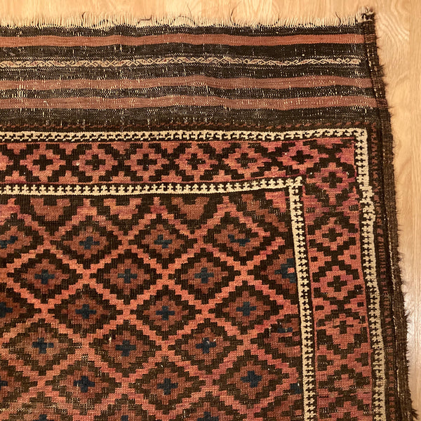 Antique Rug, 3' 5 x 5' 8 Brown Baluch