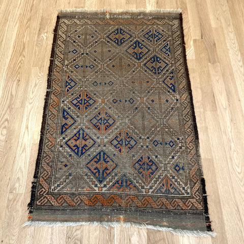 Antique Rug, 2' 3 x 3' 9 Brown