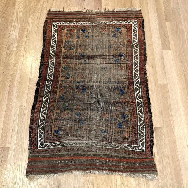 Antique Rug, 2' 4 x 3' 10 Brown