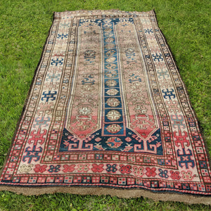 Antique Rug, 4' 5 x 8' 7 Blue Caucasian
