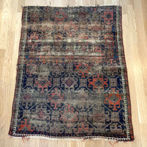 Antique Rug, 2' 7 x 3' 4 Blue