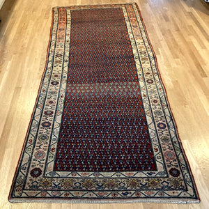 Antique Rug, 3' 9 x 8' 10 Red Brown Runner