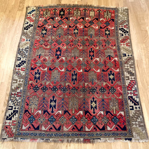 Antique Rug, 3' 7 x 4' 5 Red Caucasian
