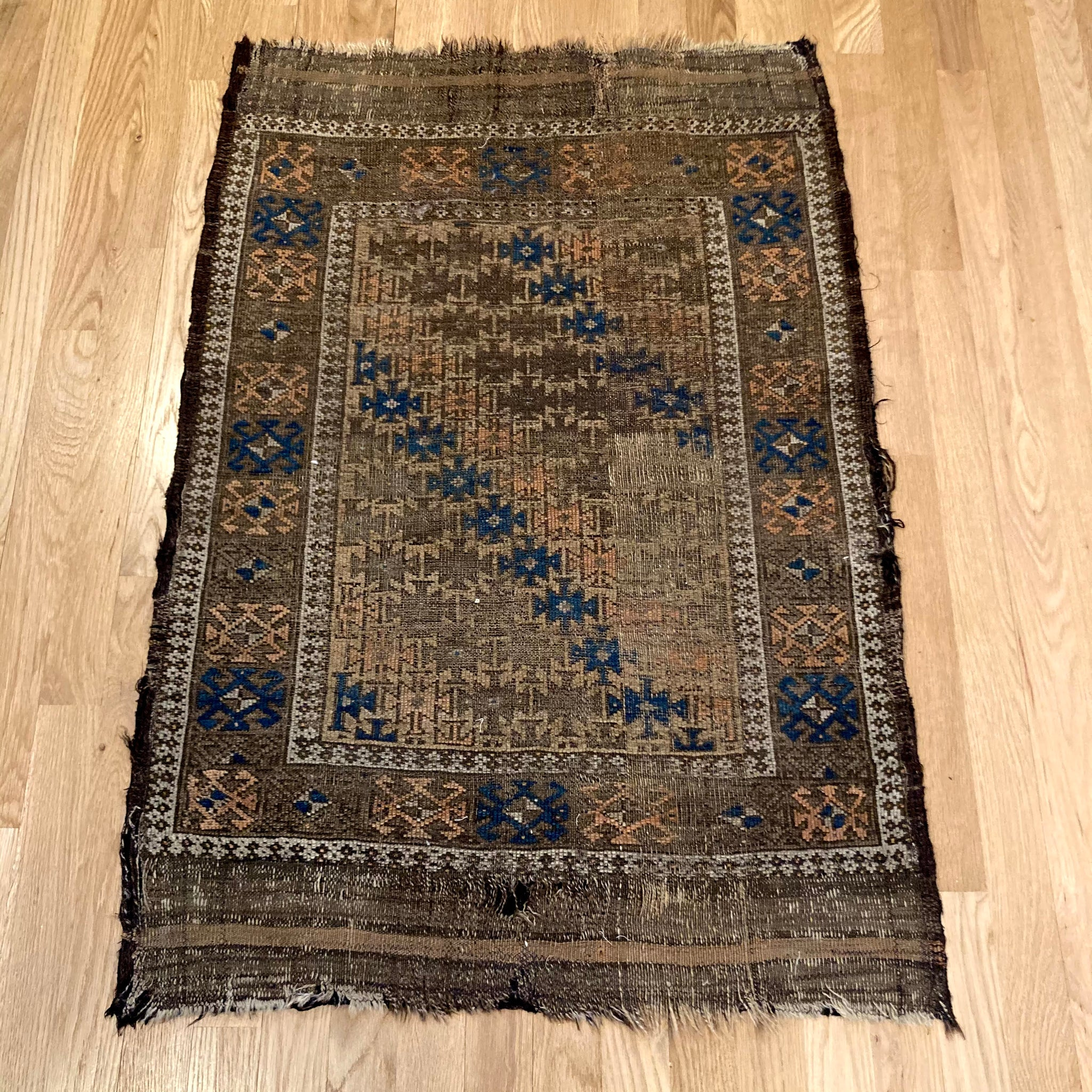 Antique Rug, 2' 4 x 3' 6 Tan