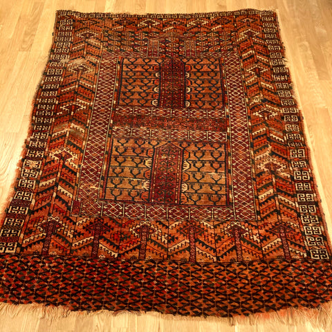 Antique Rug, 4' x 5' 3 Red Prayer