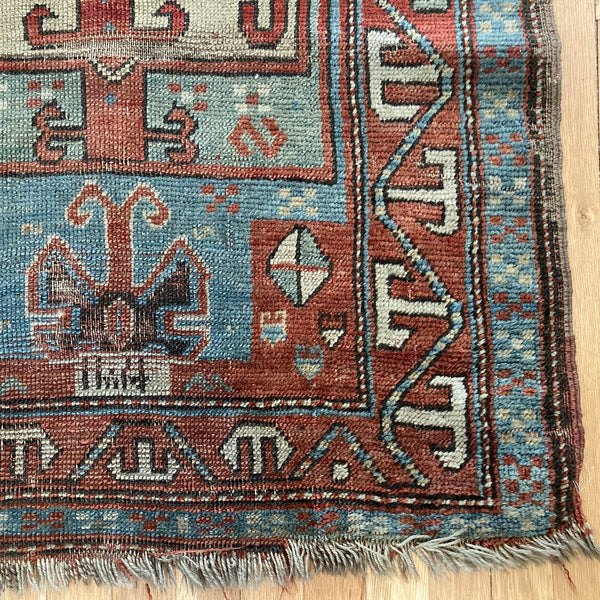Antique Rug, 2' 11 x 5' 10 Blue Caucasian
