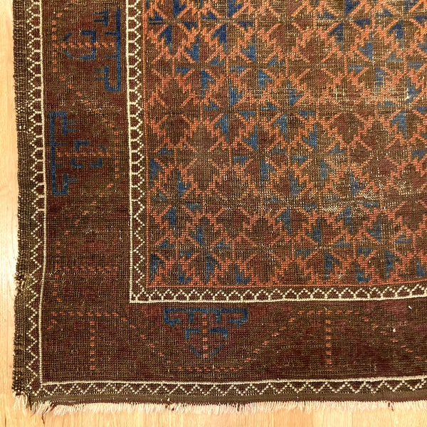 Antique Rug, 3' 4 x 5' 10 Brown Tribal