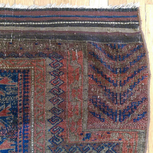 Antique Rug, 3' 3 x 5' 2 Blue Baluch