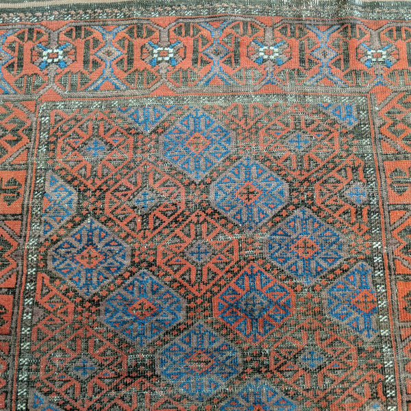 Antique Rug, 3' 4 x 6' 1 Brown Baluch - Jessie's Oriental Rugs