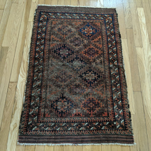Antique Rug, 2' 5 x 3' 9 Brown Baluch - Jessie's Oriental Rugs
