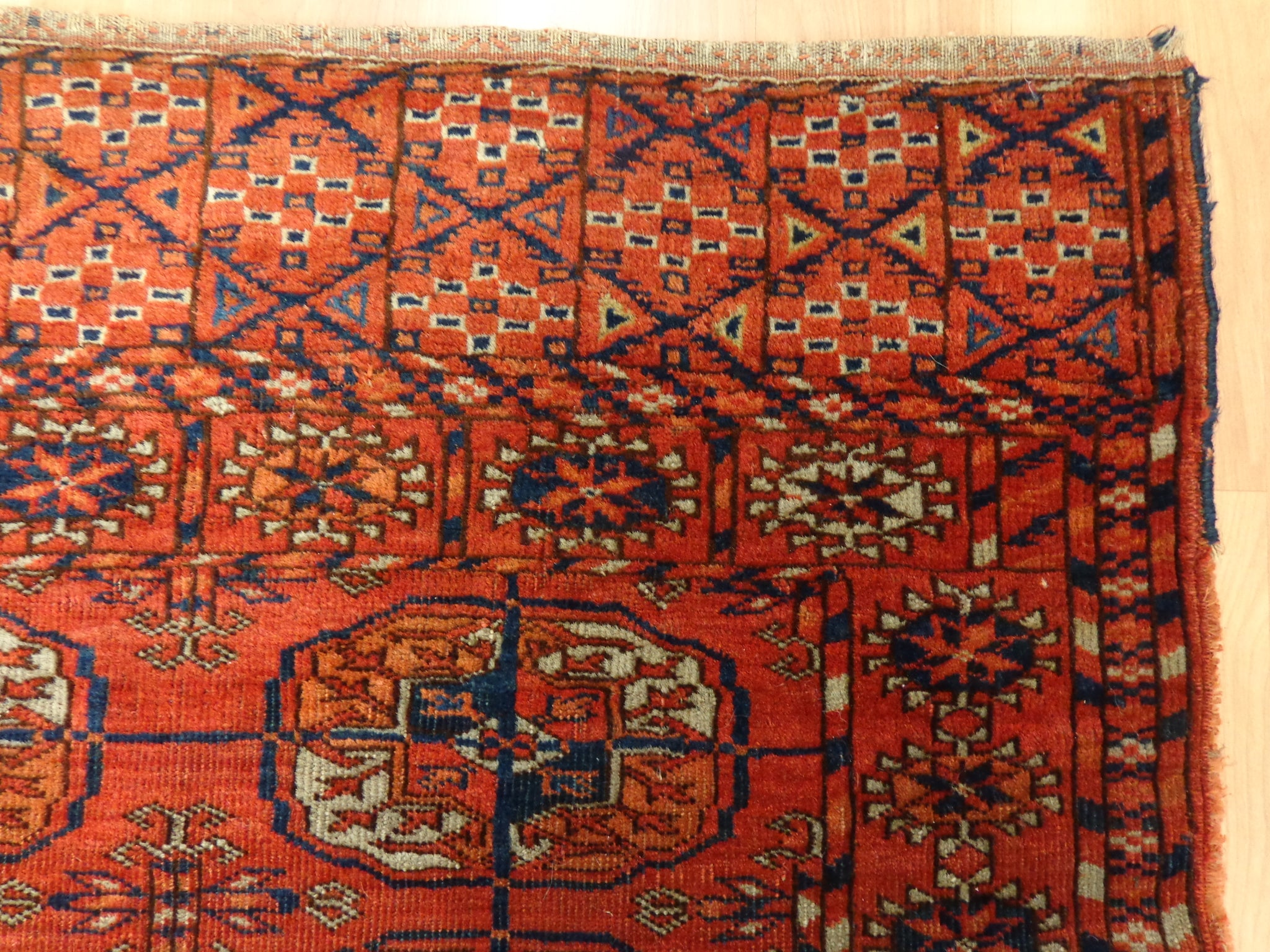 Turkoman Rug, 3' 5 x 3' 10 Brown Orange Bokhara - Jessie's Oriental Rugs