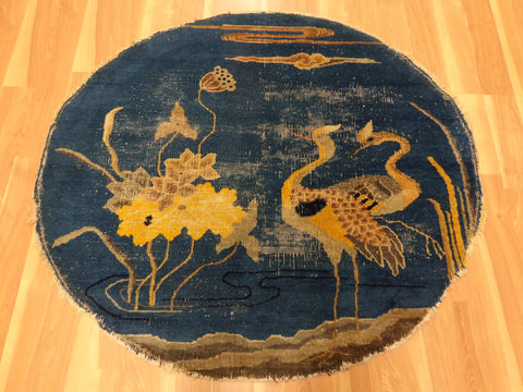 Antique Rug, 4' 2 x 3' 10 Blue Chinese
