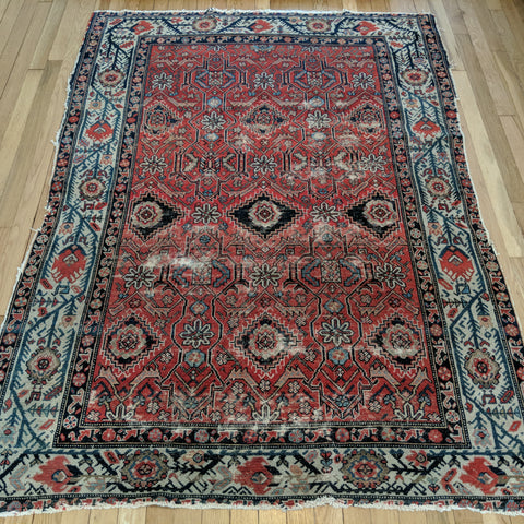 Antique Rug, 4' 5 x 6' Red - Jessie's Oriental Rugs