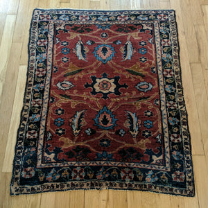 Antique Rug, 2' 8 x 3' 3 Purple Rose - Jessie's Oriental Rugs