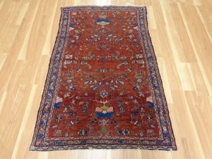 Antique Persian Rug, 3' 2 x 5' Red Lilihan