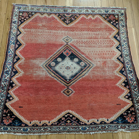Persian Rug, 3' 4 x 3' 2 Soft Red Afshar - Jessie's Oriental Rugs