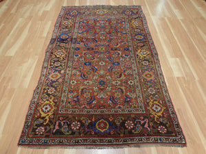 Antique Rug, 4' 5 x 7' 4 Red Brown Persian - Jessie's Oriental Rugs