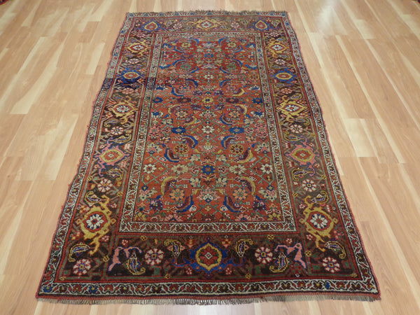Antique Rug, 4' 5 x 7' 4 Red Brown Persian