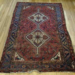 Antique Rug, 4' 3 x 6' 5 Red Persian - Jessie's Oriental Rugs