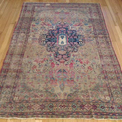 Antique Persian Rug, 4' 4 x 6' 9 Cream Kirman - Jessie's Oriental Rugs