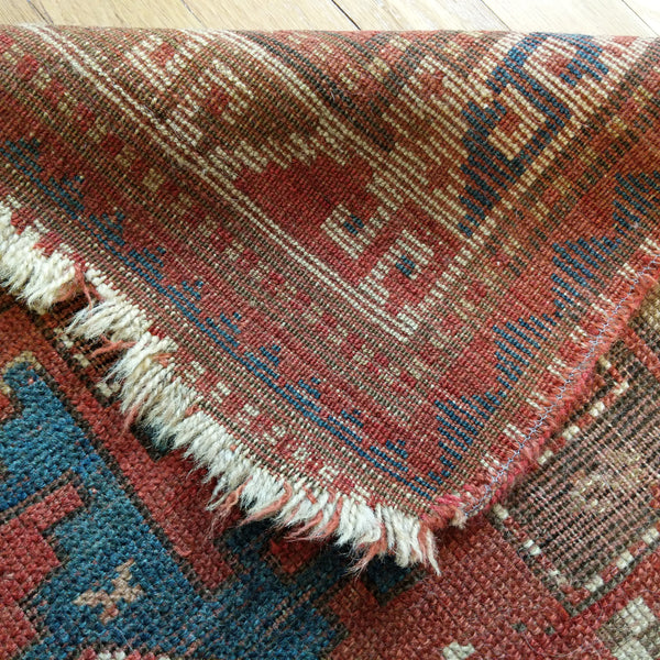 Antique Rug, 3' 1 x 4' 10 Brown Kazak - Jessie's Oriental Rugs