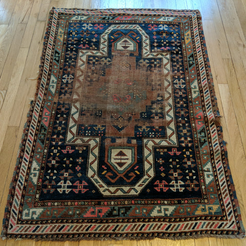 Antique Rug, 3' 4 x 4' 9 Blue Caucasian