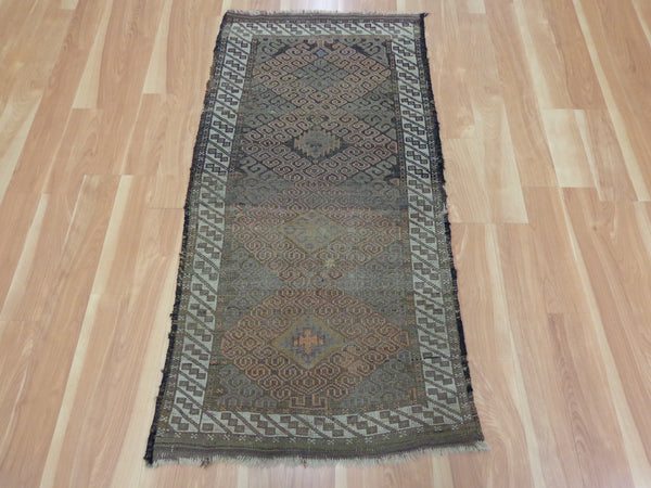 Antique Rug, 2' 4 x 4' 8 Brown Baluch