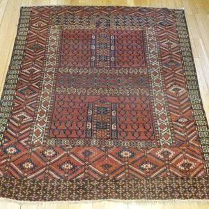 Antique Rug, 4' 4 x 4' 11 Turkoman Prayer - Jessie's Oriental Rugs