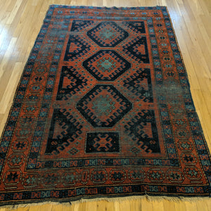 Antique Rug, 4' 3 x 6' 8 Red Caucasian