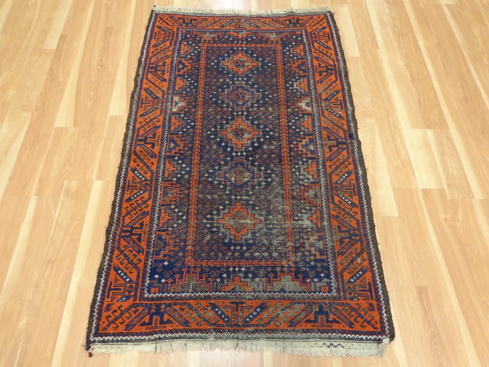 Antique Rug, 3' 2 x 5' 4 Blue Baluch