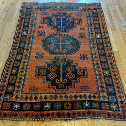 Antique Rug, 4' 1 x 6' 1 Red Orange - Jessie's Oriental Rugs
