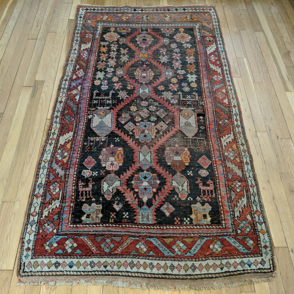 Antique Rug, 3' 5 x 6' 4 Brown Persian - Jessie's Oriental Rugs