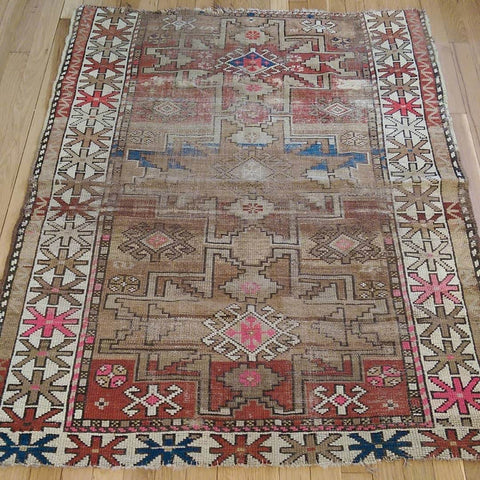 Antique Rug, 3' 7 x 4' 6 Brown Caucasian - Jessie's Oriental Rugs