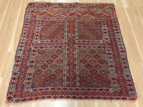 Antique Rug, 4' 7 x 4' 11 Brown Turkoman