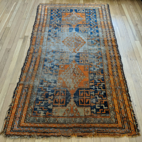 Caucasian Rug, 3' 10 x 7' 1 Blue Antique
