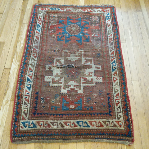 Antique Rug, 3' 1 x 4' 10 Brown Kazak