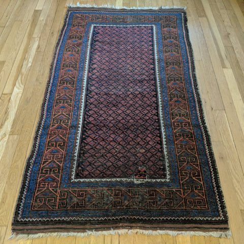 Antique Rug, 3' 1 x 5' 10 Brown Baluch - Jessie's Oriental Rugs