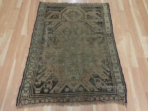 Antique Rug, 3' 4 x 4' 4 Brown Prayer