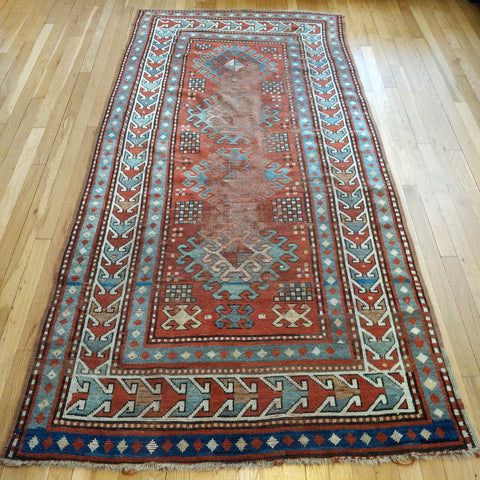 Antique Rug, 4' x 8' 2 Orange Brown Kazak