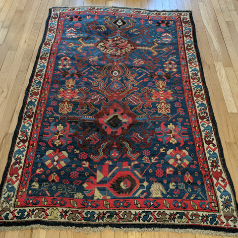 Antique Rug, 3' 8 x 5' 6 Blue Caucasian