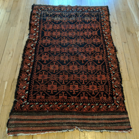 Antique Rug, 3' 1 x 5' Brown Tribal