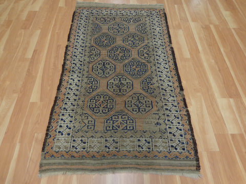 Antique Rug, 3' 4 x 5' 11 Brown Baluch