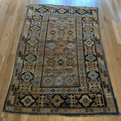 Antique Rug, 3' 4 x 5' 1 Beige Caucasian