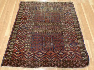 Turkoman Rug, 3' 11 x 4' 4 Brown Prayer