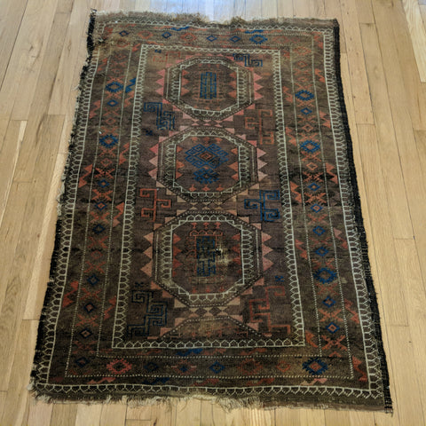 Antique Rug, 2' 11 x 4' 5 Brown Tribal - Jessie's Oriental Rugs