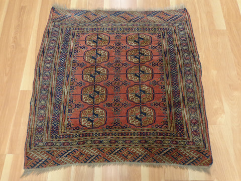 Antique Rug, 2' 11 x 3' Red Turkoman