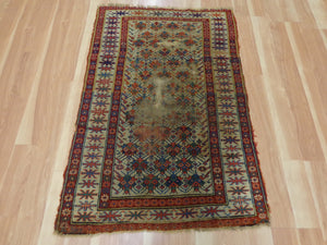 Caucasian Rug, 2' 10 x 4' 4 Cream Antique