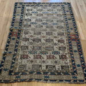 Antique Rug, 3' 10 x 5' 2 Beige Caucasian