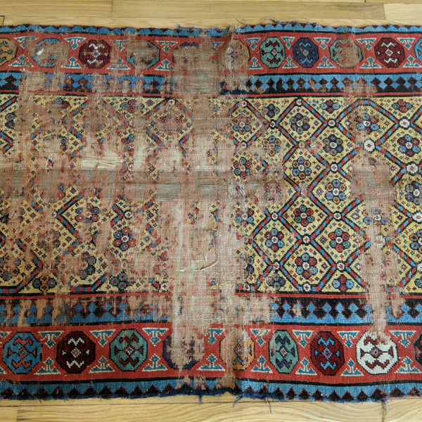 Antique Rug, 3' 6 x 8' 9 Yellow Caucasian - Jessie's Oriental Rugs