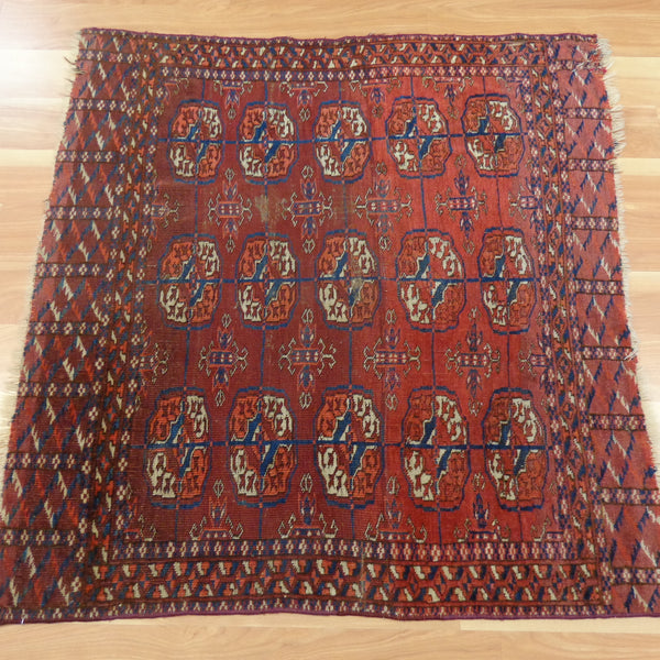 Antique Rug, 2' 2 x 3' 1 Red Brown Turkoman Bokhara - Jessie's Oriental Rugs
